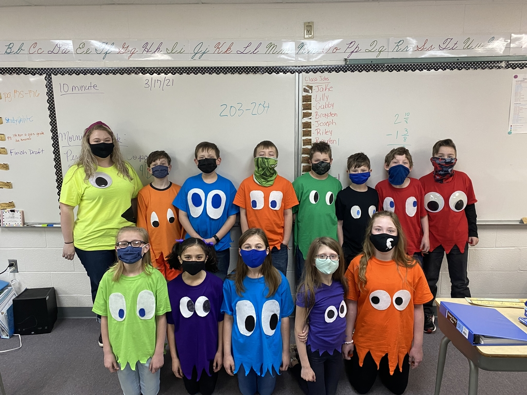 The fourth grade dressed as the pac-man game