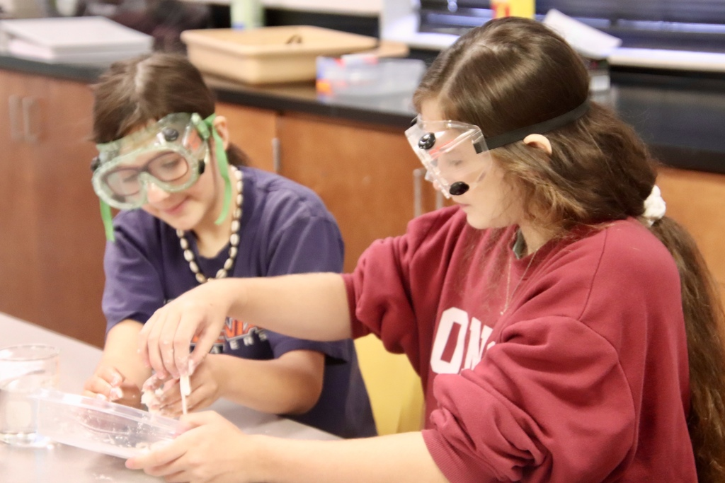 8th grade physical science student action shots during a lab