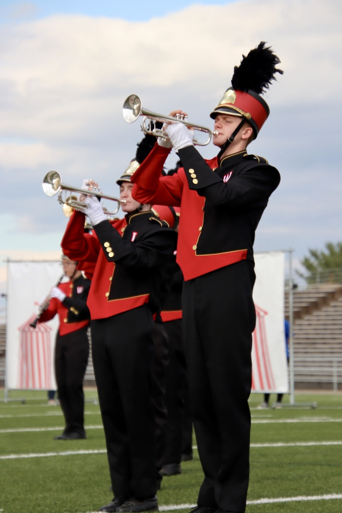 Trumpet section at band field show in Lynchburg