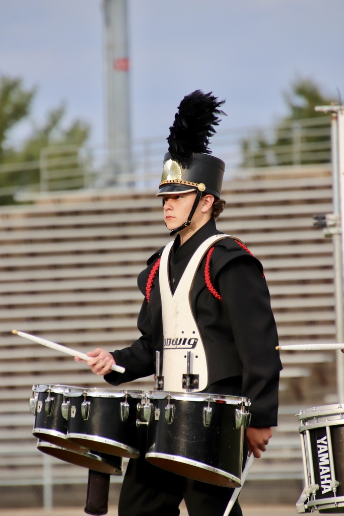 Matthew Pruitt on drums at band field show in lynchburg