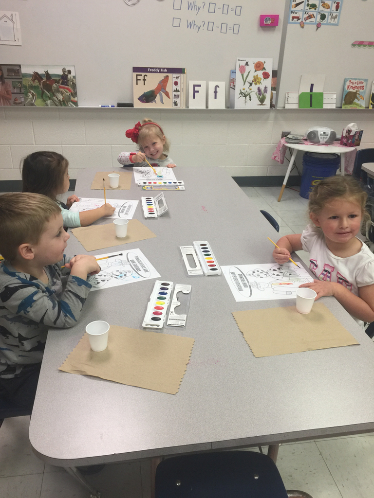 K-3 having fun with paint! We can have fun on this rainy day!