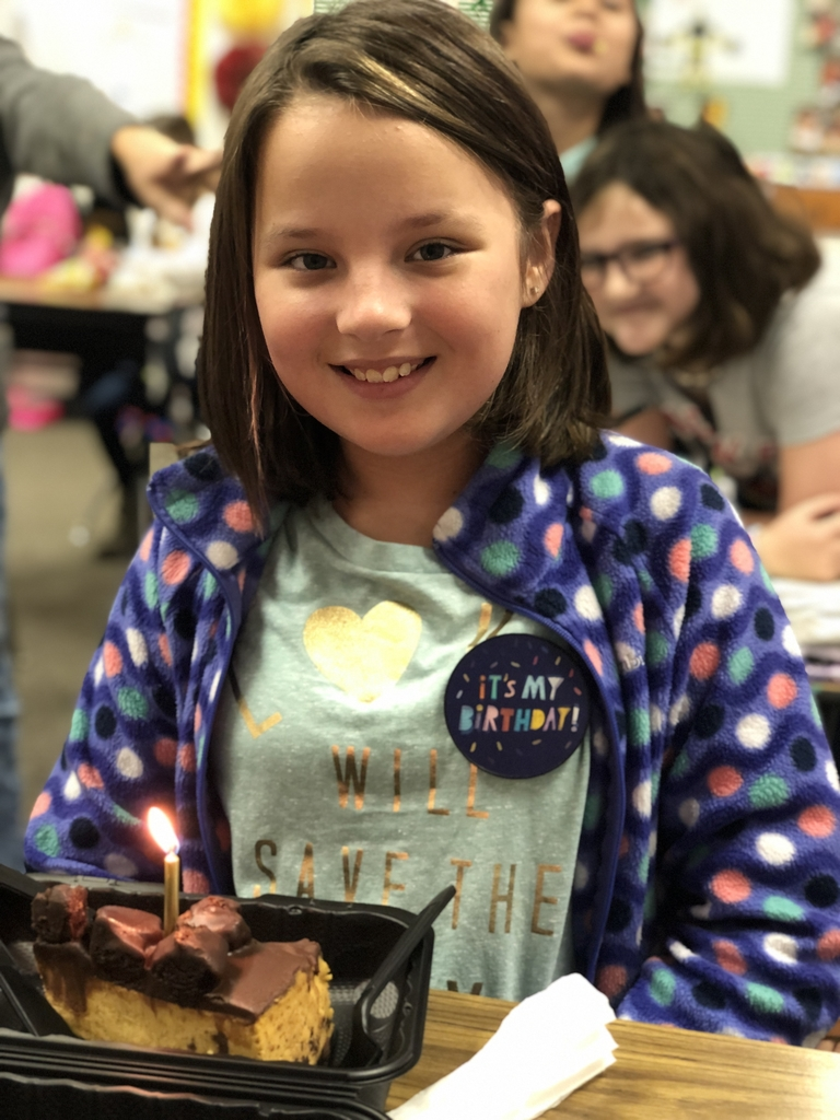 A fourth grade girl celebrating her birthday!
