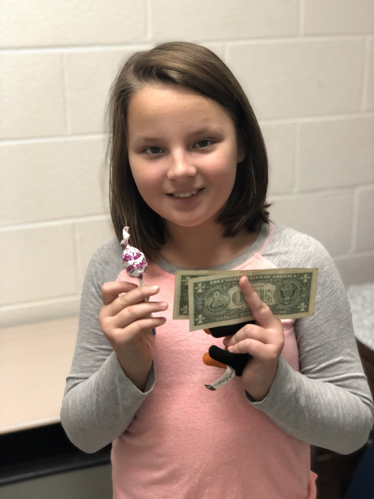 4th grade girl with her winnings