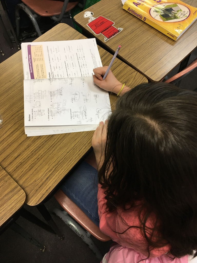 5th grade student working on math